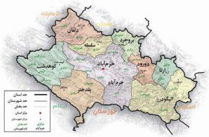 نقشه الیگودرز در استان لرستان و مجاورت استان ها
